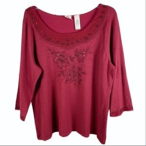 Emma James Wine Red Silk Knit Sweater Top